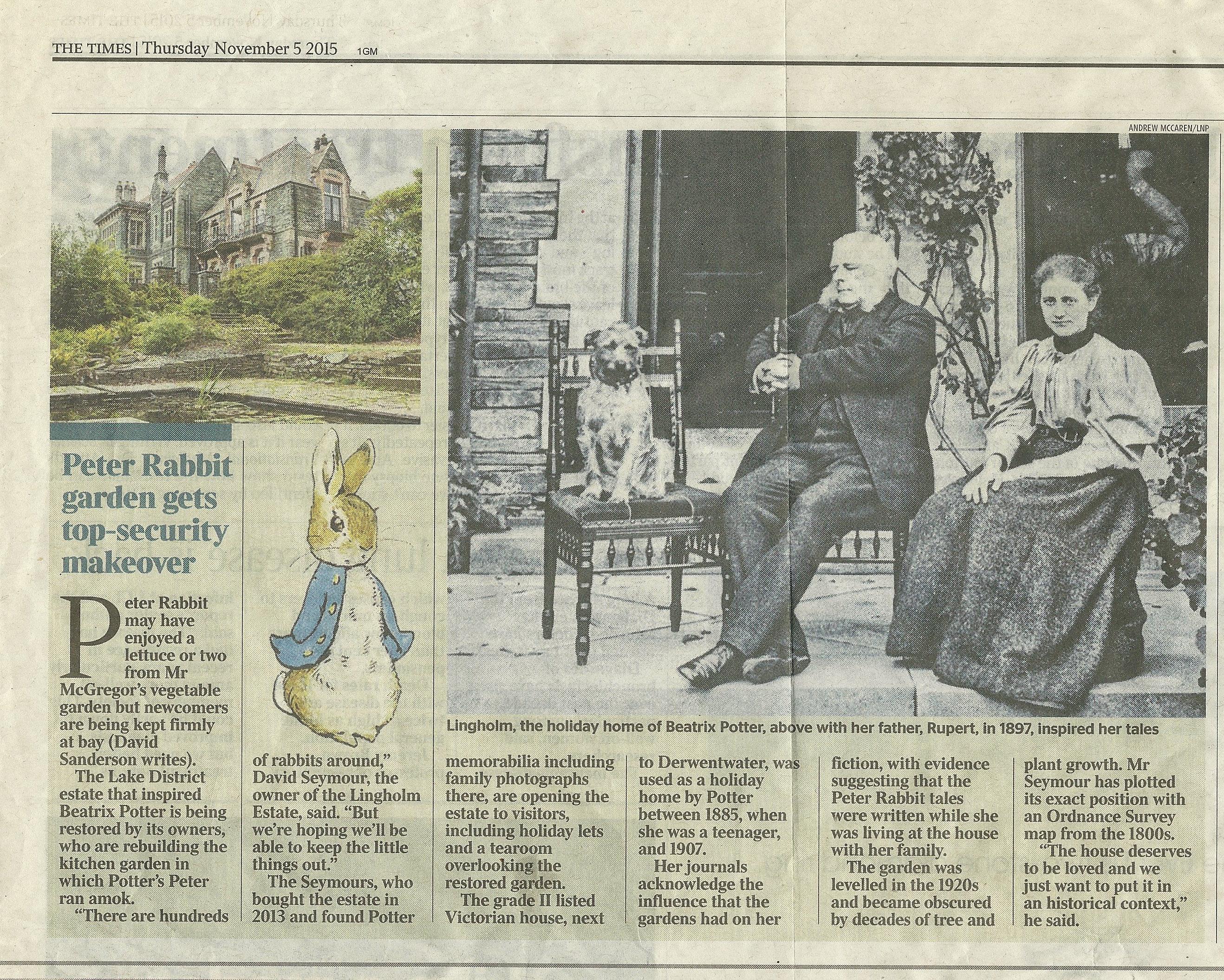 Beatrix Potter sitting with her Irish Terrier